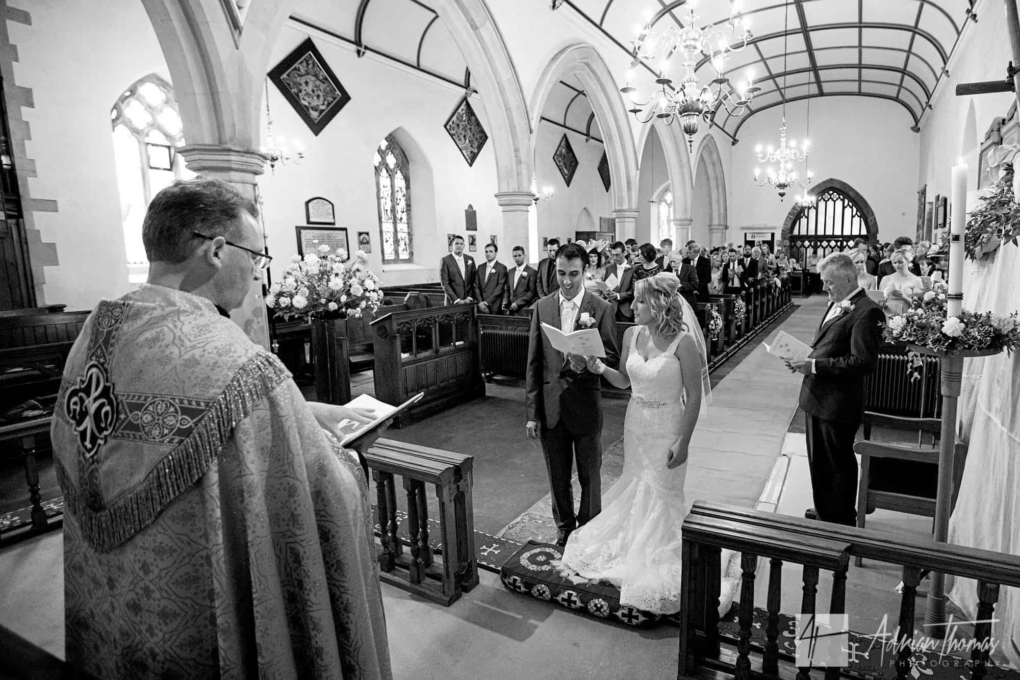 Image of church during wedding service.