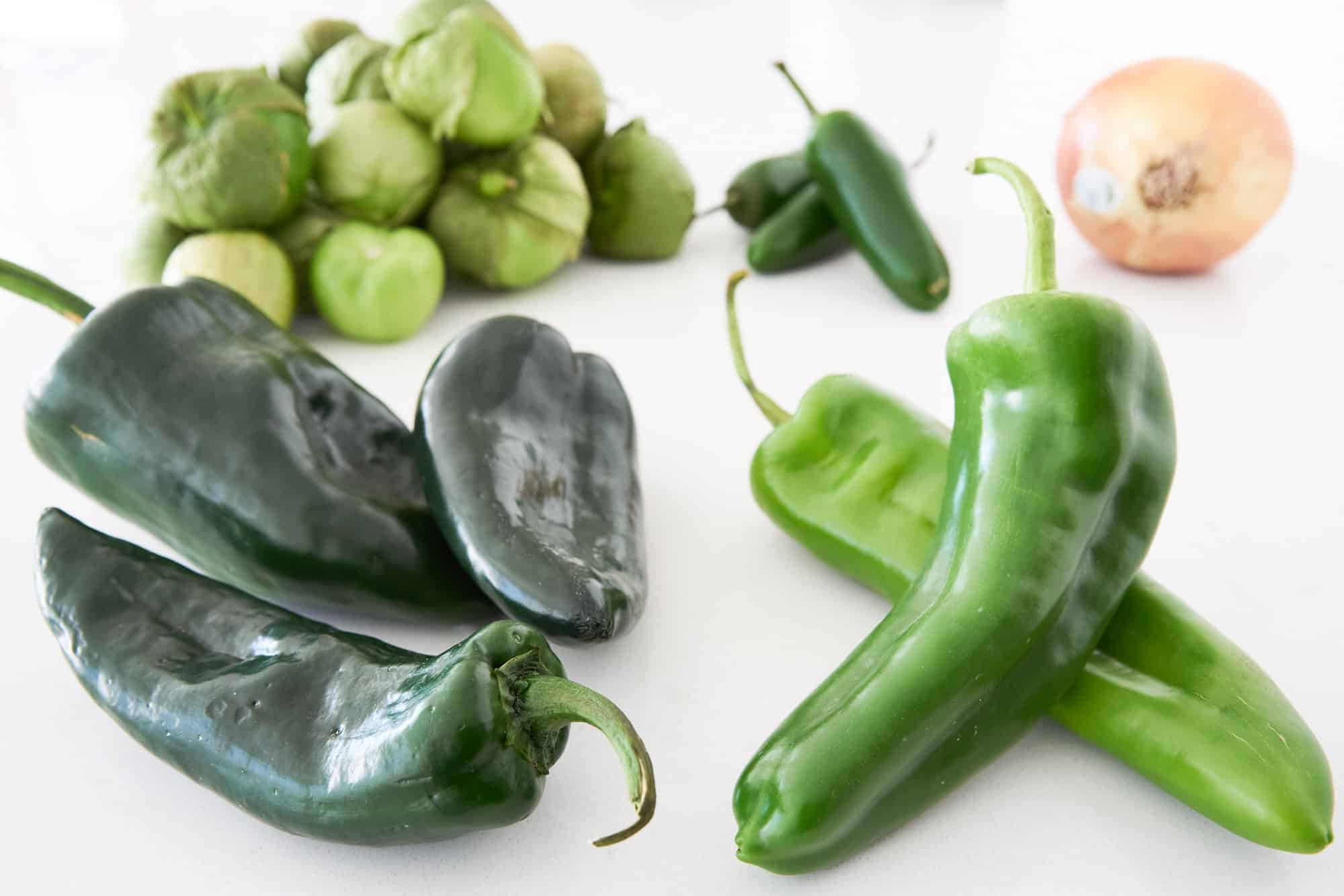 Green chilies and tomatillos for Chile Verde.