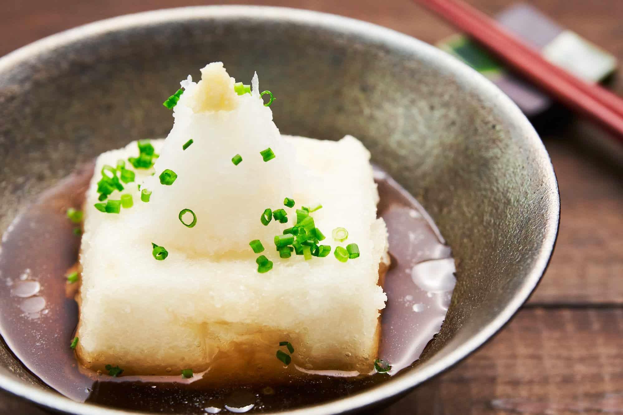 This plant-based agedashi tofu is made with a savory shiitake mushroom stock which makes it vegan-friendly.