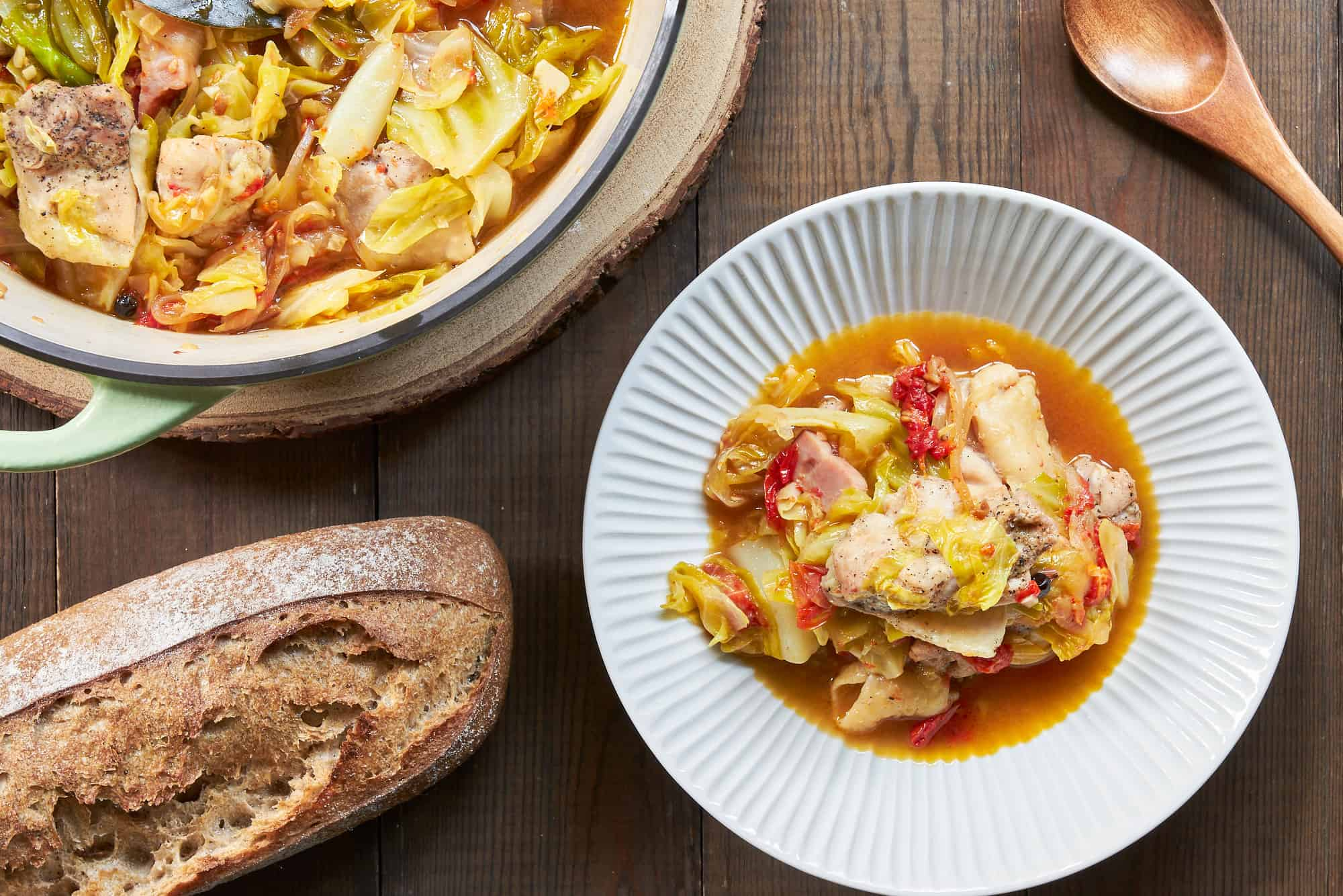 This easy and delicious cabbage and chicken stew comes together in under 30 minutes.