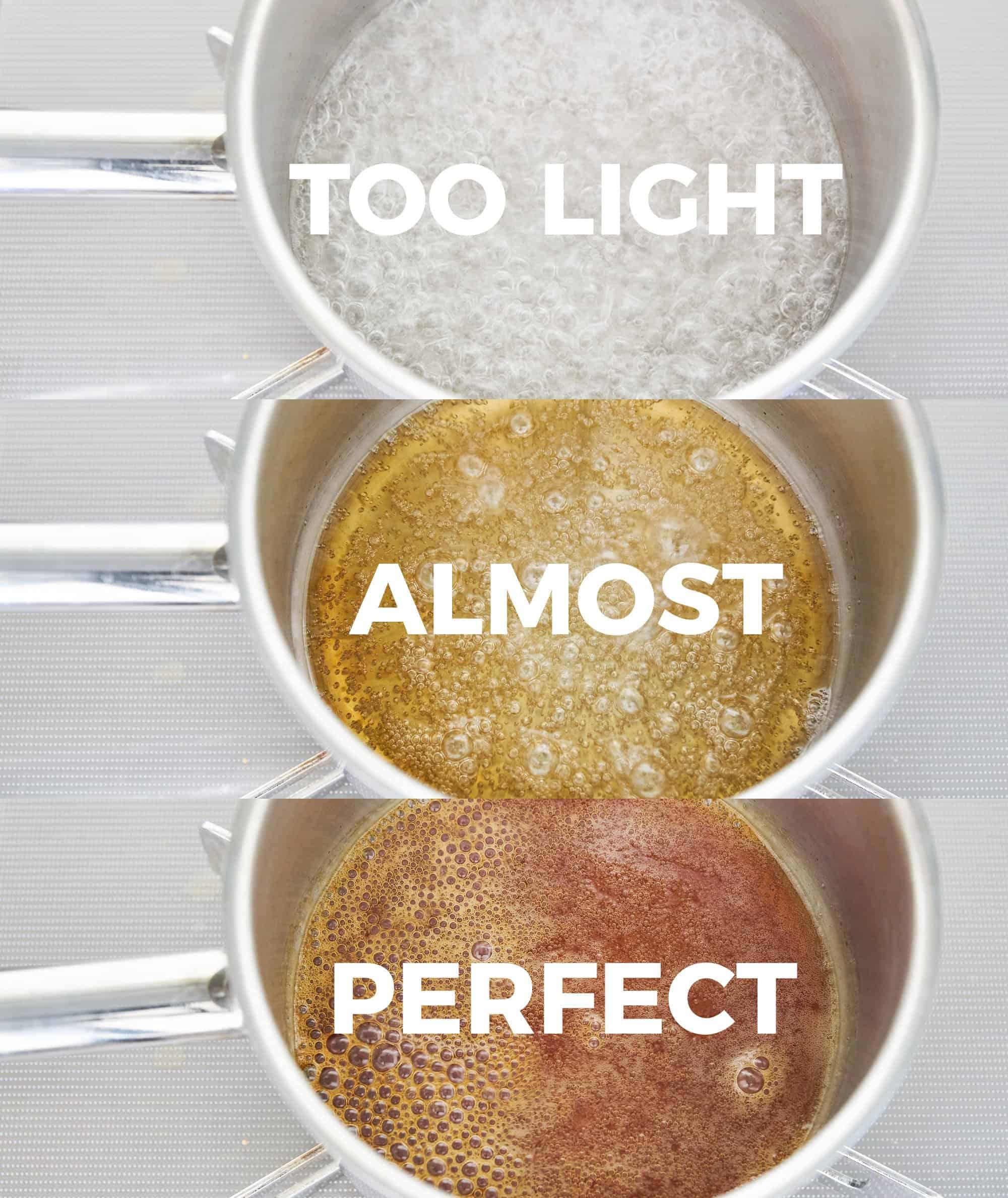Stages for caramelization of sugar.