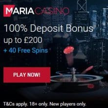 Maria Casino   40 exclusive free spins + 100% up to €200 bonus   review