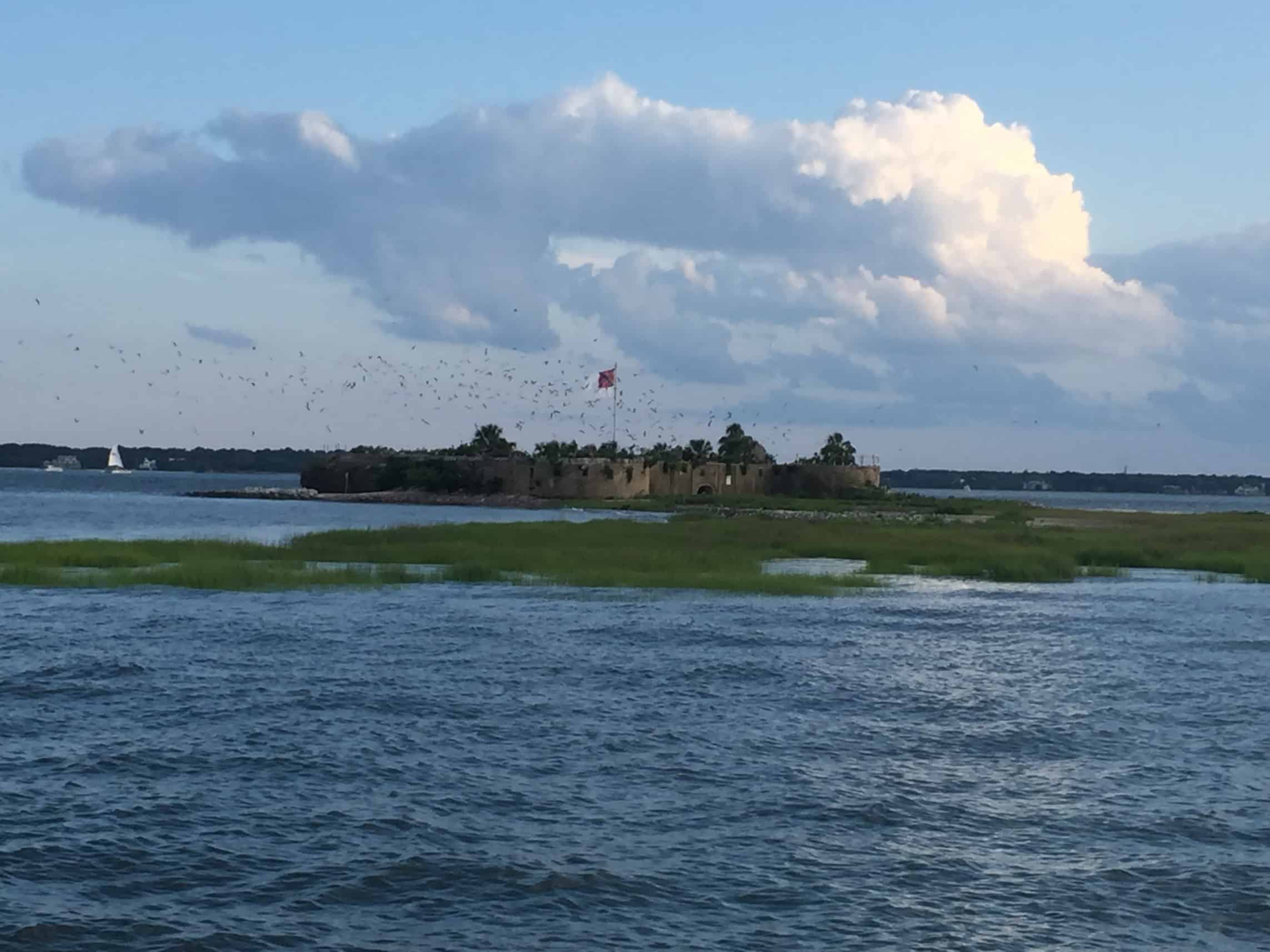 Castle Pinkney in distance. Best time of day to see dolphins in South Carolina