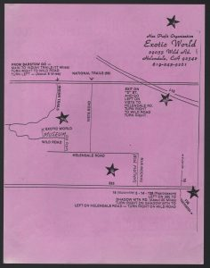 Map to Exotic World Museum on Rear of Flier