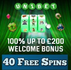 Unibet Casino 40 free spins and 100% up to £200 free bonus
