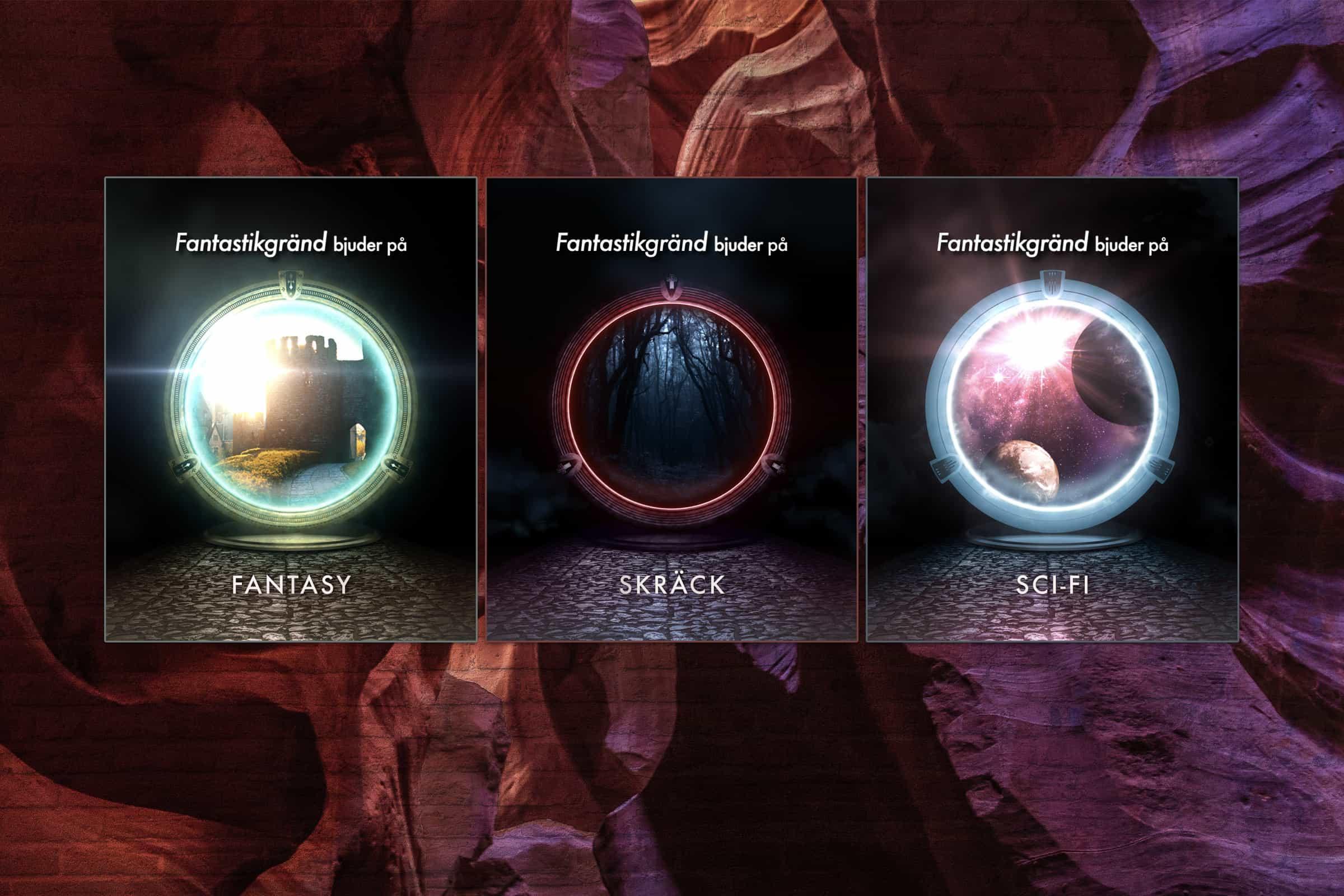 Skärmdumpar från boktrailer till Fantastikgränd 2020. Marknadsföring för en gratis e-bok som delades ut under Bokmässan i Göteborg. Tre bilder föreställande en futuristisk portal visas mot en färgglad bakgrund.