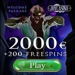 JOY CASINO | 200 free spins + 425% up to €2000 gratis bonus
