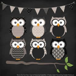 Pattern Zoo Black Patterned Owl Clipart & Patterns