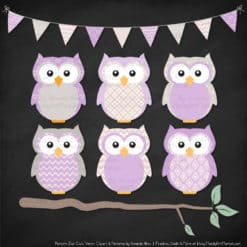 Pattern Zoo Lavender Patterned Owl Clipart & Patterns