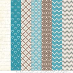 Pattern Zoo Vintage Blue Patterned Owl Clipart & Patterns