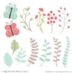 Mint & Coral Cute Flower Clipart