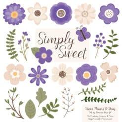 Purple Cute Flower Clipart