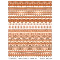 Pumpkin Digital Lace Borders Clipart