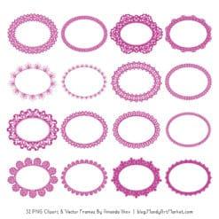 Fuchsia Round Digital Lace Frames Clipart