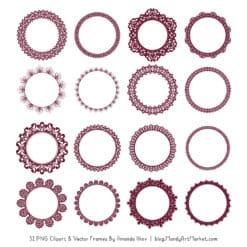 Merlot Round Digital Lace Frames Clipart