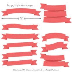 Coral Ribbon Banner Clipart
