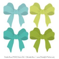 Free Aqua & Bamboo Party Bow Clipart