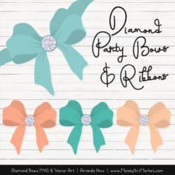 Aqua & Peach Diamond Bow Clipart