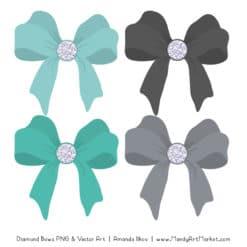 Aqua & Pewter Diamond Bow Clipart
