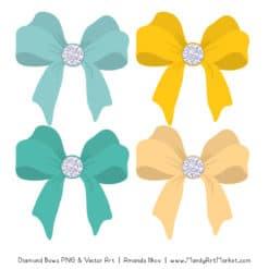 Aqua & Yellow Diamond Bow Clipart