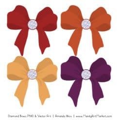 Autumn Diamond Bow Clipart