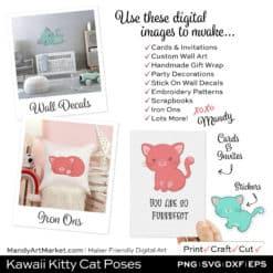 Kawaii Kitty Cat Poses Clipart