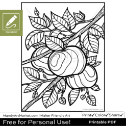 Apple Branch Coloring Sheet Blank Preview
