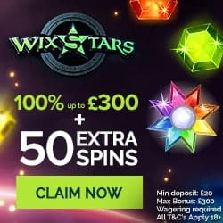 Wixstars Casino | 50 free spins + 100% up to €300 free bonus | Review