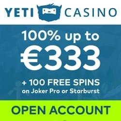 Yeti 100 free spins bonus