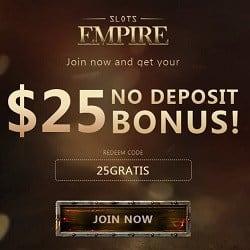Slots Empire Casino   $25 no deposit required + 220% bonus   Review