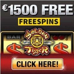Golden Tiger Casino 100 free spins + 300% up to €1500 free bonus