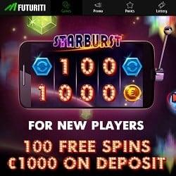 FUTURITI Casino 100 free spins + 200% up to €1,000 welcome bonus
