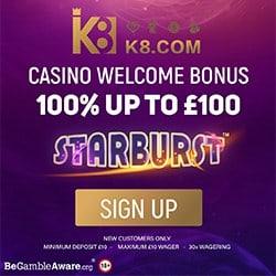 K8.com UK Casino & Sportsbook: 100% bonus & free play games