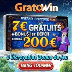 GratoWin Casino 7€ gratis or 70 free spins no deposit bonus