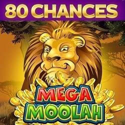 80 free spins bonus on Mega Moolah jackpot