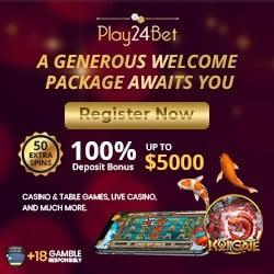 Play24Bet Casino 30 free spins, no deposit bonus, promo codes