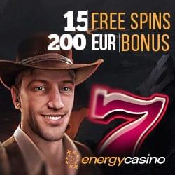 Energy Casino 15 gratis spins + 150% up to €400 bonus + 55 free spins