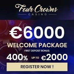Four Crowns Casino 400% bonus + €6000 gratis + free spins