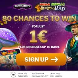 JackpotCity $1 deposit 80 free spins