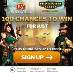 Royal Vegas 80 chances for $1 deposit