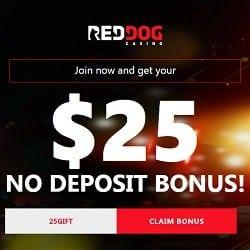 Red Dog Casino $25 GRATIS free no deposit bonus