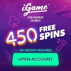 iGame Casino   450 free spins NDB + 150 gratis spins + €1000 bonus