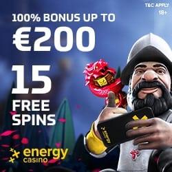 Energy Casino €5 free spins no deposit and €400 welcome bonus