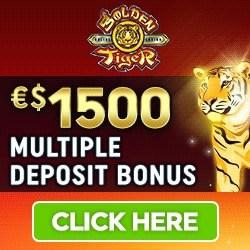 Golden Tiger Casino (Microgaming): 50 free spins + €1,500 bonus