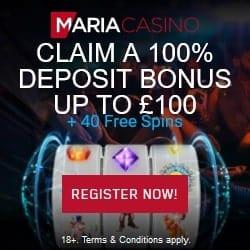Maria Casino Review: 40 Free Spins + 100% Bonus + Gratis Spins