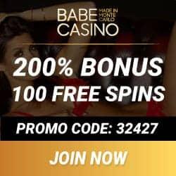 Babe Casino €3450 bonus + 3000 free play games + 100 free spins