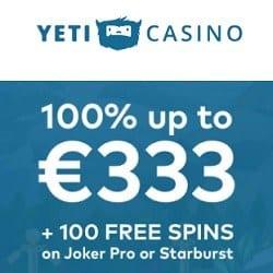 100 gratis spins and €300 free bonus on sign up
