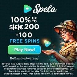 Spela Casino 100% up to $200 bonus and 100 free spins