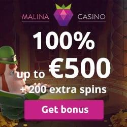 Malina 200 free spins and €500 bonus