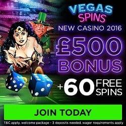 Vegas Spins Casino 60 free spins and £500 free bonus